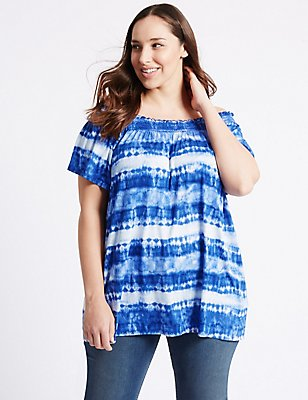 PLUS Shirred Short Sleeve Bardot Top, BLUE MIX, catlanding