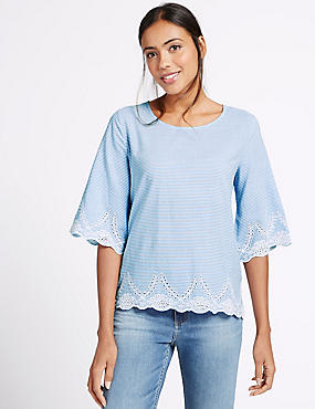 Pure Cotton Embroidered Striped T-Shirt, BLUE MIX, catlanding