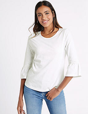 Pure Cotton Flared Sleeve T-Shirt, IVORY, catlanding