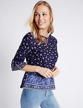 Pure Cotton Flared Sleeve T-Shirt, BLUE MIX, catlanding