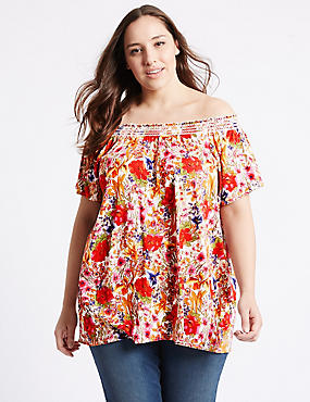 PLUS Floral Print Shirred Bardot Top, IVORY MIX, catlanding