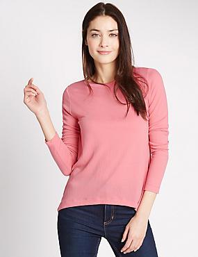 Hanky Hem Long Sleeve Jersey Top, PINK, catlanding
