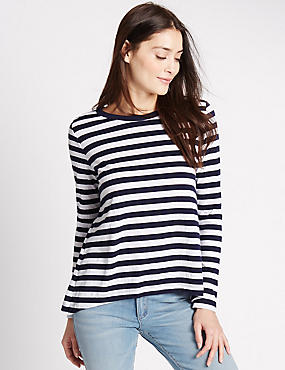 Striped Long Sleeve Jersey Top, NAVY MIX, catlanding