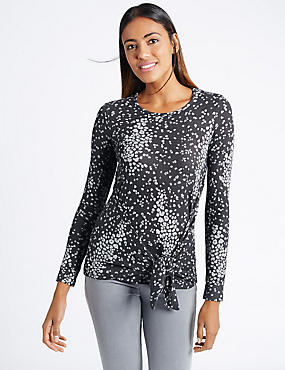Animal Print Tie Front Jersey Top, BLACK MIX, catlanding