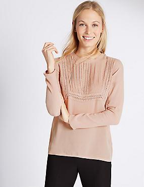 Lace Bib Long Sleeve Jersey Top, BLUSH, catlanding