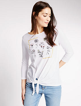 Pure Cotton Printed 3/4 Sleeve T-Shirt, WHITE MIX, catlanding