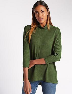 Geribbeld sweatshirt met 3/4-mouwen, KAKI, catlanding