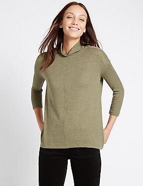 Geribbeld sweatshirt met 3/4-mouwen, CAMEL, catlanding