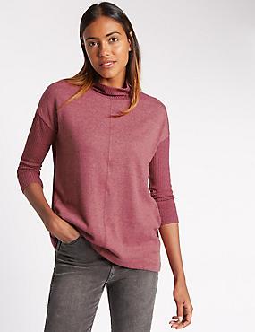 Geribbeld sweatshirt met 3/4-mouwen, MAT PINK, catlanding