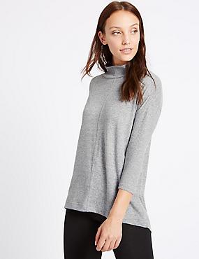 Geribbeld sweatshirt met 3/4-mouwen, GRIJS, catlanding