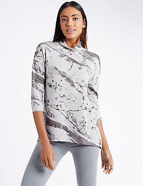 Printed Turtle Neck 3/4 Sleeve Sweatshirt, GREY MIX, catlanding