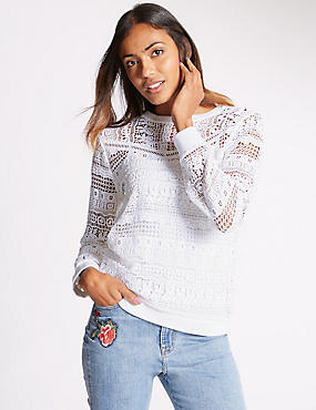 Lace Long Sleeve Top, SOFT WHITE, catlanding