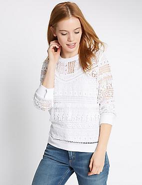 PETITE Lace Long Sleeve Top, SOFT WHITE, catlanding