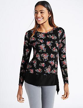 Floral Print Tie Hem Long Sleeve Jersey Top, BLACK MIX, catlanding