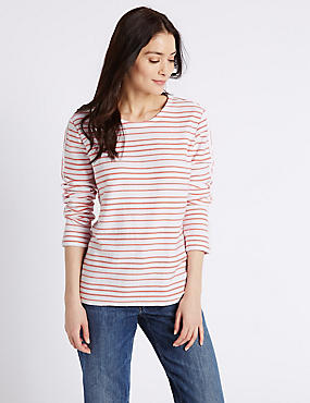 Pure Cotton Striped Long Sleeve Sweatshirt, PINK MIX, catlanding