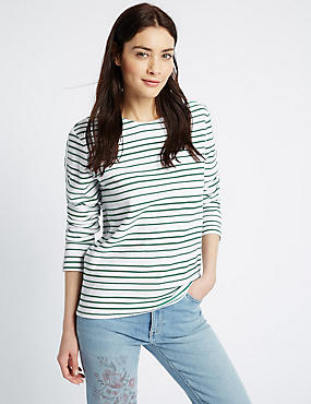 Pure Cotton Striped Long Sleeve Sweatshirt, GREEN MIX, catlanding
