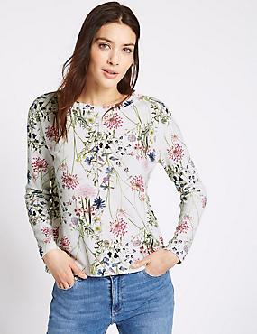 Sweatshirt met lange mouwen en bloemmotief, IVOOR MIX, catlanding