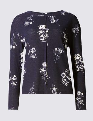 Свободный свитшот с монохромными цветами M&S Collection T417832N