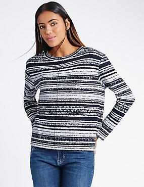 Striped Long Sleeve Sweatshirt, NAVY MIX, catlanding
