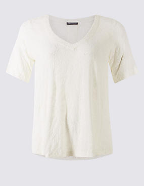 Textured V-Neck Short Sleeve Blouse, IVORY, catlanding