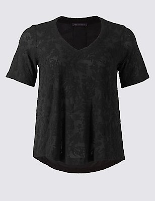 PLUS Textured V-Neck Short Sleeve Blouse, BLACK, catlanding