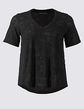 Textured V-Neck Short Sleeve Blouse, BLACK, catlanding