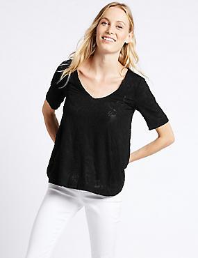 Devore Print V-Neck Short Sleeve Blouse, BLACK, catlanding