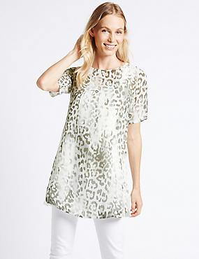 Animal Print Overlay Half Sleeve Tunic, GREY MIX, catlanding