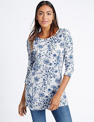 Floral Print Long Sleeve Tunic, IVORY MIX, catlanding