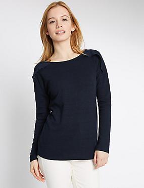 PETITE Ruffle Shoulder Jersey Top, NAVY, catlanding