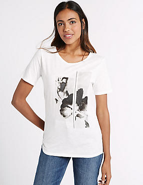 Cotton Blend Graphic Print T-Shirt, WHITE MIX, catlanding