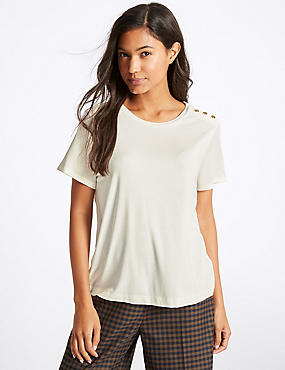 Shoulder Button Short Sleeve T-Shirt, IVORY, catlanding