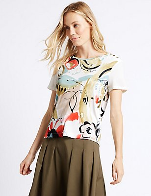 Floral Print Short Sleeve T-Shirt, IVORY MIX, catlanding