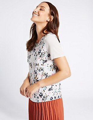 Floral Print Short Sleeve T-Shirt, GREY MIX, catlanding
