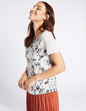 Floral Print Short Sleeve T-Shirt, GREY MIX, catlanding