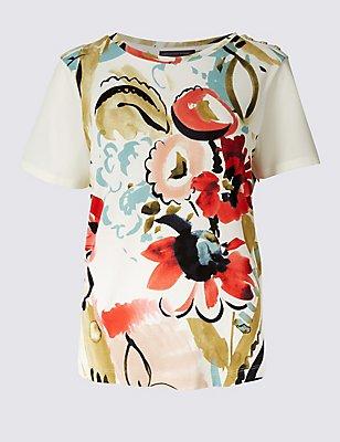 PETITE Floral Print Short Sleeve T-Shirt, IVORY MIX, catlanding