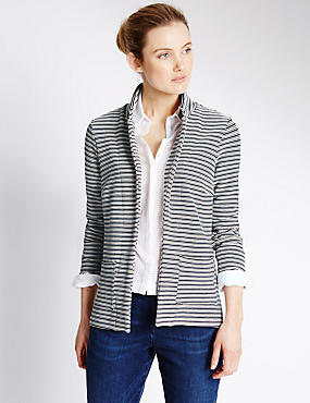 Open Front Striped Jacket