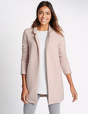 Textured Longline Jacket, BLUSH, catlanding