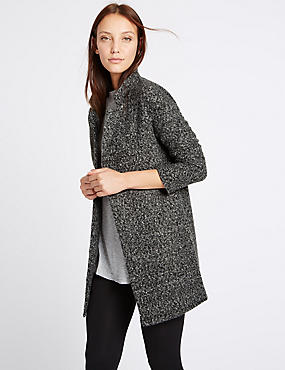 Textured Longline Jacket, GREY, catlanding