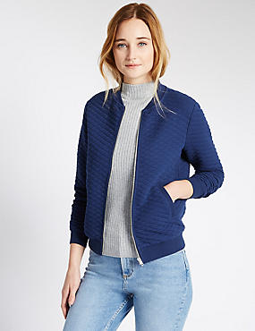Loose Fit Quilted Textured Bomber Jacket, BLUE, catlanding