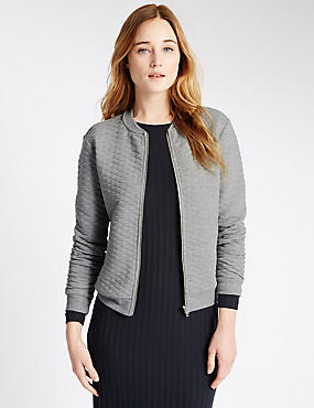 Loose Fit Quilted Textured Bomber Jacket, GREY MARL, catlanding