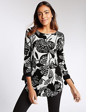 Floral Print 3/4 Sleeve Jersey Top, BLACK MIX, catlanding