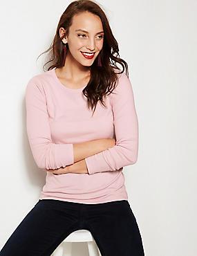 Pure Cotton Round Neck Long Sleeve T-Shirt, BLUSH, catlanding