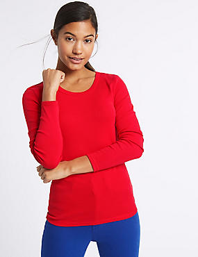Pure Cotton Round Neck Long Sleeve T-Shirt, LACQUER RED, catlanding