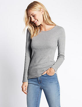 Pure Cotton Crew Neck Long Sleeve T-Shirt, GREY MARL, catlanding