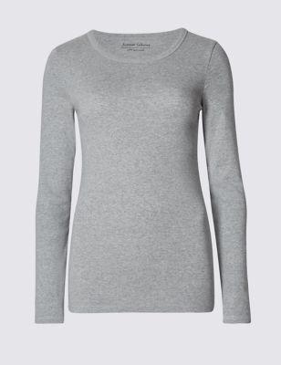 Облегающая однотонная футболка с длинным рукавом M&S Collection T418109