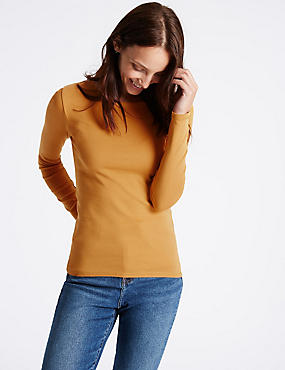 Pure Cotton Round Neck Long Sleeve T-Shirt, ANTIQUE BRASS, catlanding
