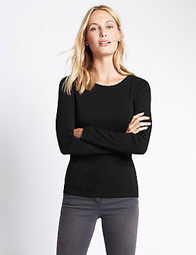 Pure Cotton Crew Neck Long Sleeve T-Shirt, BLACK, catlanding