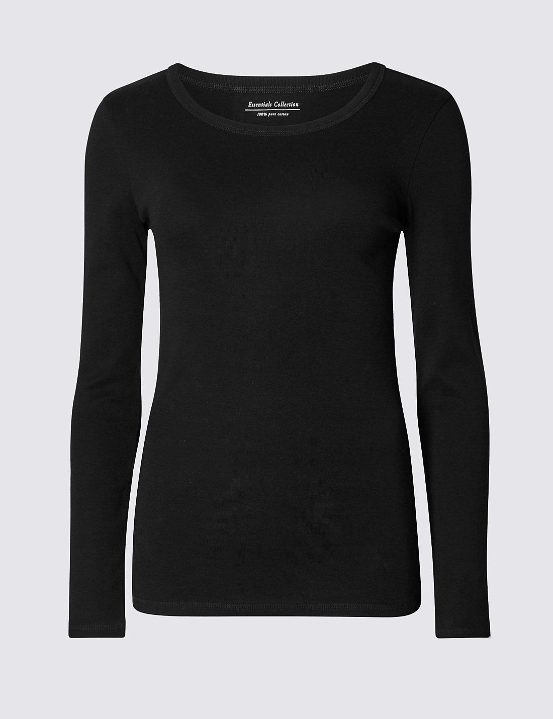Black t shirt long sleeve - Pure Cotton Round Neck Long Sleeve T Shirt