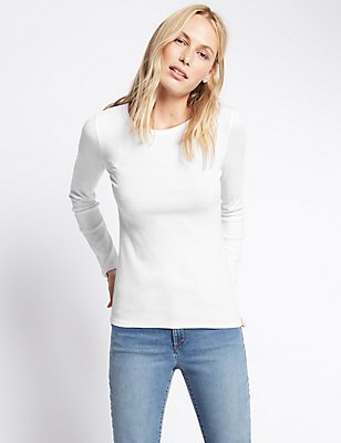 Pure Cotton Crew Neck Long Sleeve T-Shirt, WHITE, catlanding